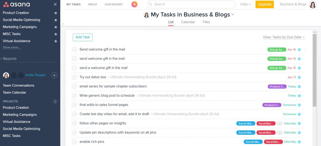 Asana Top Blogging Tools